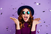 Close up photo of lovely vintage student shouting isolated over purple background