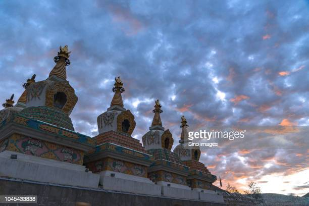 close up photo of stupas at temple in qinghai, china - qinghai province stock photos and pictures