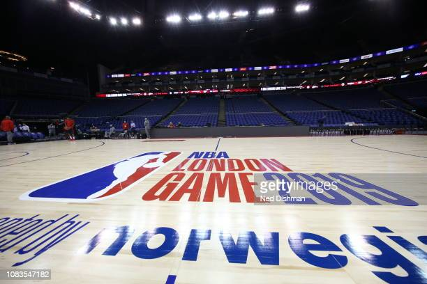 A close up photo of the London Game logo displayed on the court during Washington Wizards shoot around prior to the 2019 NBA London Game at the 02...