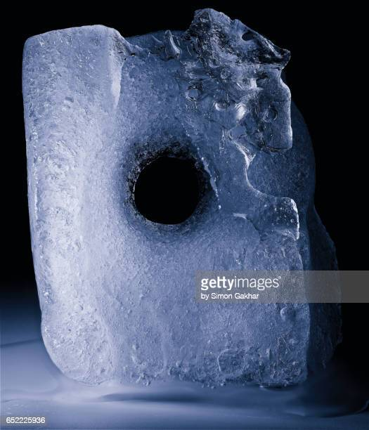 Close up Photograph of Ice Sculpture with Hole