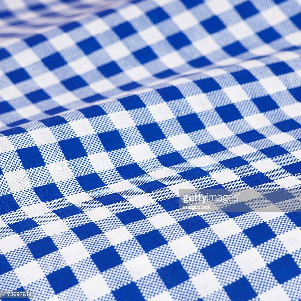 Close up picture of blue checkered (gingham) cloth