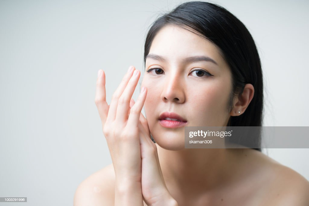 Close up portrait asian female for beauty product : Stock Photo