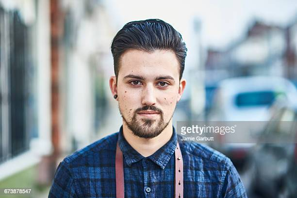 Close up portrait of a British Hipster Barber