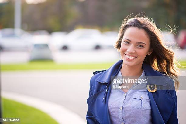 Close up portrait of a professional business woman smiling outdo