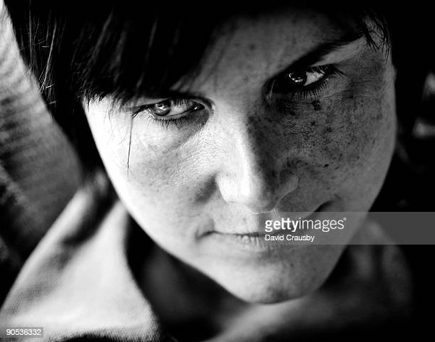 close up portrait of a woman looking sideways - crausby stock pictures, royalty-free photos & images