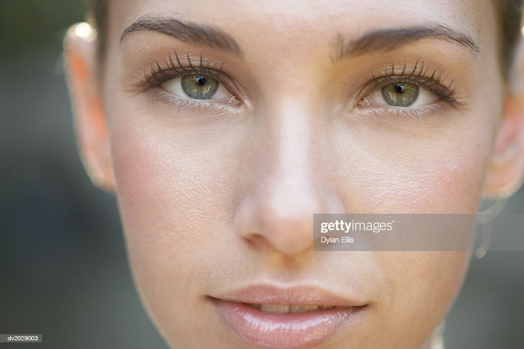 Close Up Portrait of a Young Woman's Face : Stock Photo