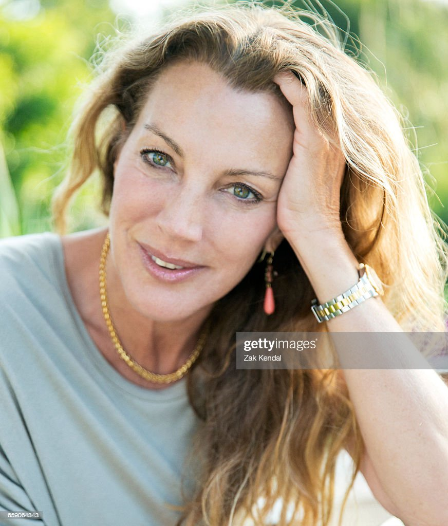 Close Up Portrait Of Beautiful Mature Woman With Long -6770