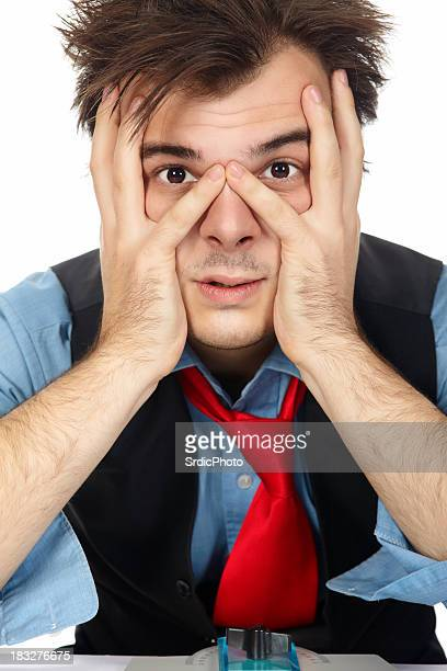 Close up portrait of exhausted businessman