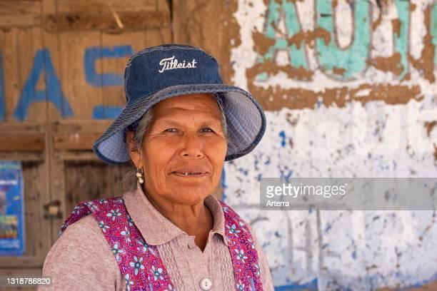 Close up portrait of local elderly Bolivian woman, Sud Chichas Province, Potosí Department, Bolivia.