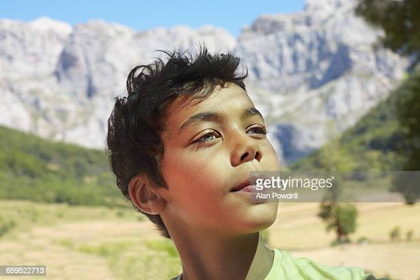 Close up portrait of mixed race boy