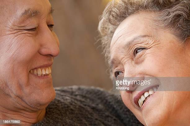Close Up Portrait of Romantic Senior Couple