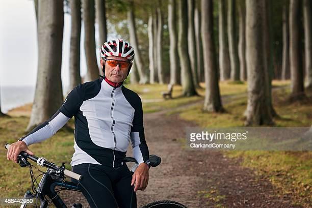 Close Up Portrait of Senior Man Mountain Biker