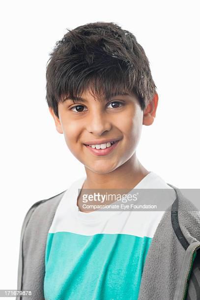 Close up portrait of smiling boy (10-12)