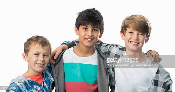 close up portrait of smiling boys (9-11) - only boys stock photos and pictures