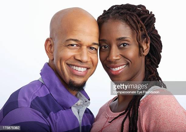 Close up portrait of smiling couple