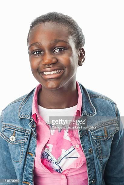 "close up portrait of smiling girl (10-12) - ""compassionate eye"" stockfoto's en -beelden"