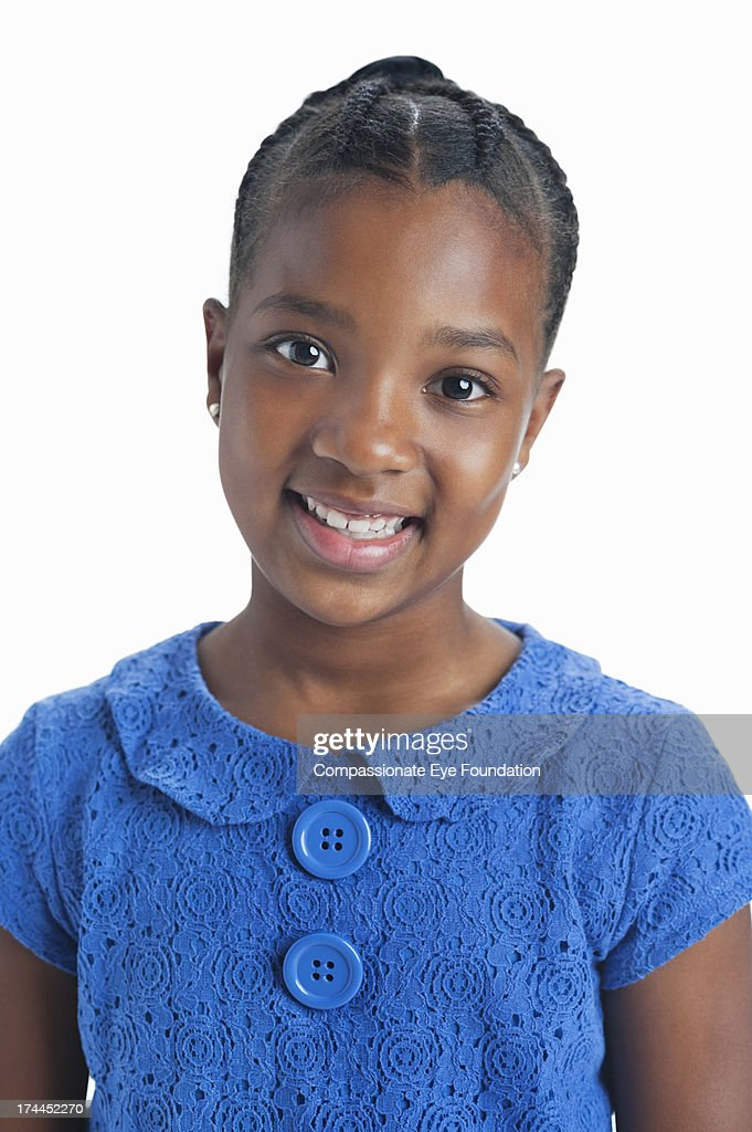 Close up portrait of smiling girl (10-11) : Foto stock