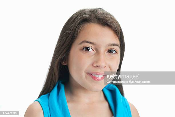 Close up portrait of smiling girl (10-11)
