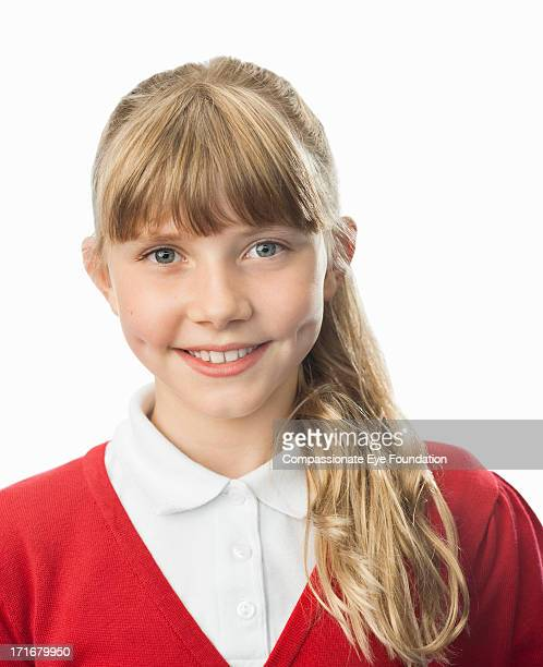 close up portrait of smiling school girl (10-12) - 10 11 years photos stock photos and pictures