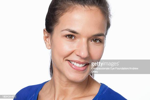 Close up portrait of smiling woman
