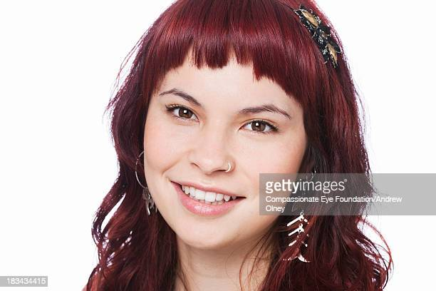 "close up portrait of smiling woman - ""compassionate eye"" stockfoto's en -beelden"