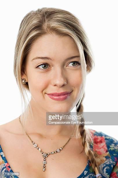 "close up portrait of smiling young woman - ""compassionate eye"" fotografías e imágenes de stock"