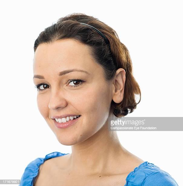 "close up portrait of smiling young woman - ""compassionate eye"" foto e immagini stock"