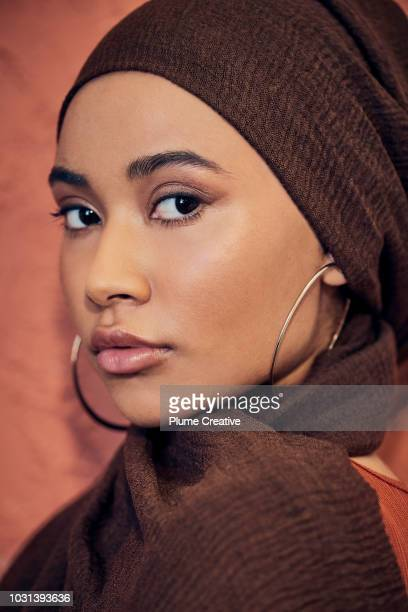 Close up portrait of woman in hijab