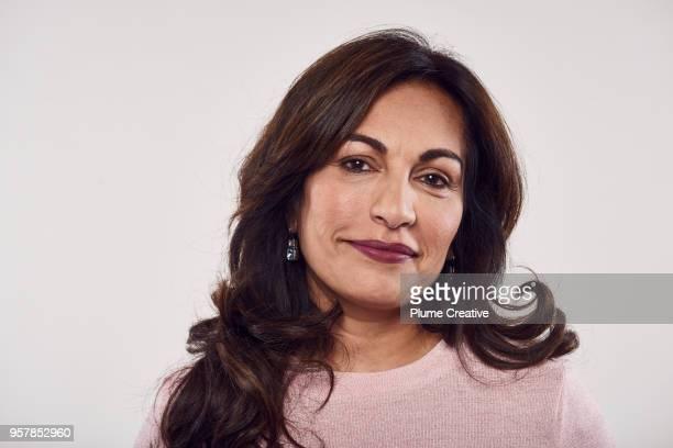 Close up portrait of woman in studio
