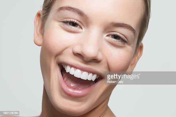 Close up portrait of woman laughing