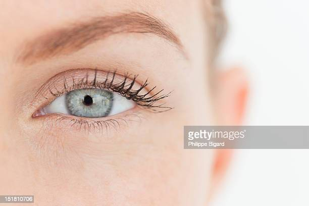 close up portrait of womans eye - yeux bleus photos et images de collection