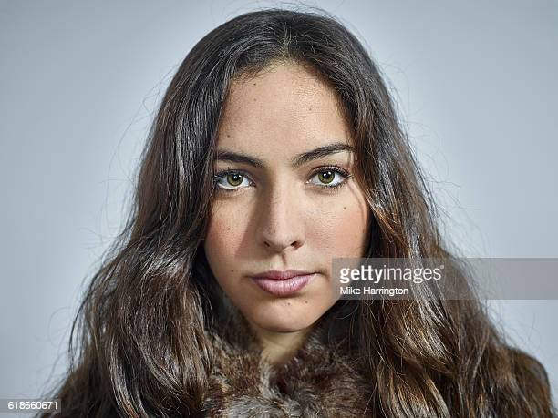 close up portrait of young brunette female - one young woman only stock pictures, royalty-free photos & images