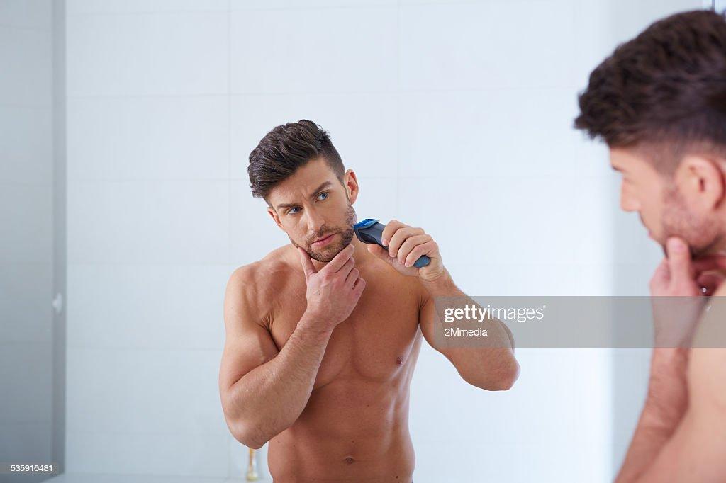 Close-up Retrato de jovem homem bonito com pele perfeita : Foto de stock