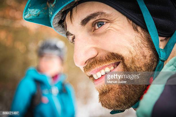 Close up portrait of young male mountain biker