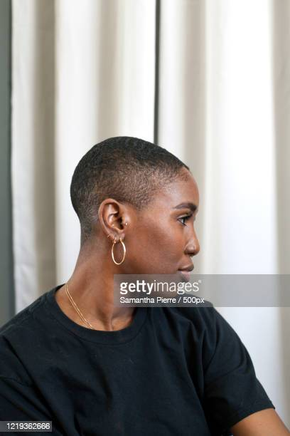 close up portrait of young woman with short hair - showus stock pictures, royalty-free photos & images
