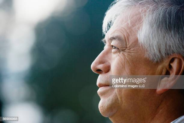 Close up profile of elderly man
