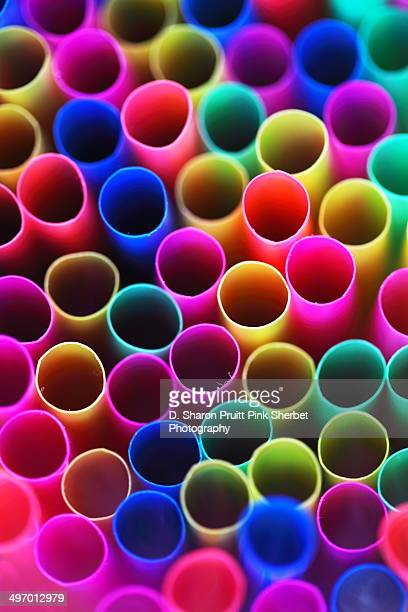 Close Up Rainbow Colored Straws