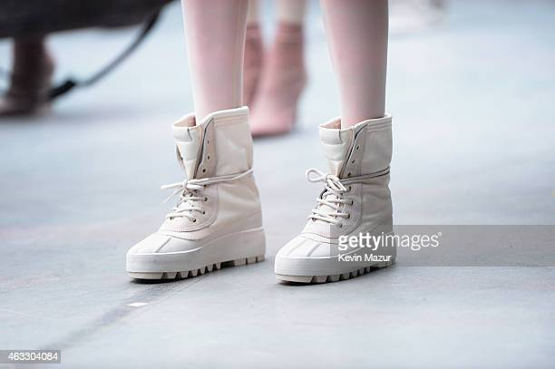 A close up shoe detail from the adidas Originals x Kanye West YEEZY SEASON 1 fashion show during New York Fashion Week Fall 2015 at Skylight Clarkson...