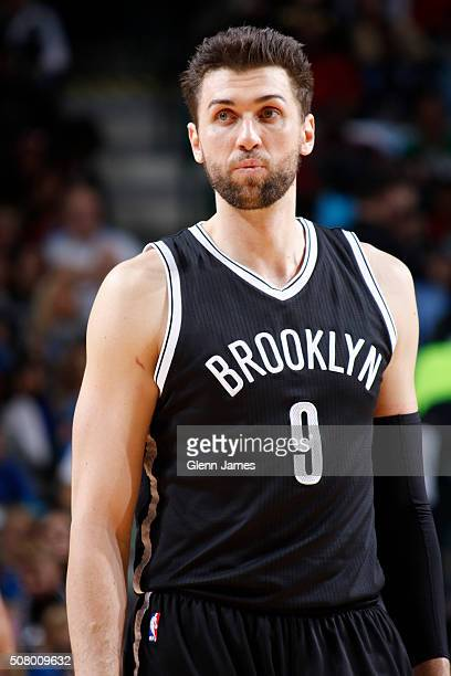 A close up shot Andrea Bargnani of the Brooklyn Nets during the game against the Dallas Mavericks on January 29 2016 at the American Airlines Center...