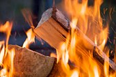 Close up shot of a burning piece of wood