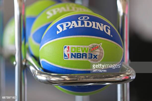 A close up shot of a Official Spalding Basketball in the Mountain Dew NBA 3x3 tournament on May 14 2017 in Chicago Illinois NOTE TO USER User...