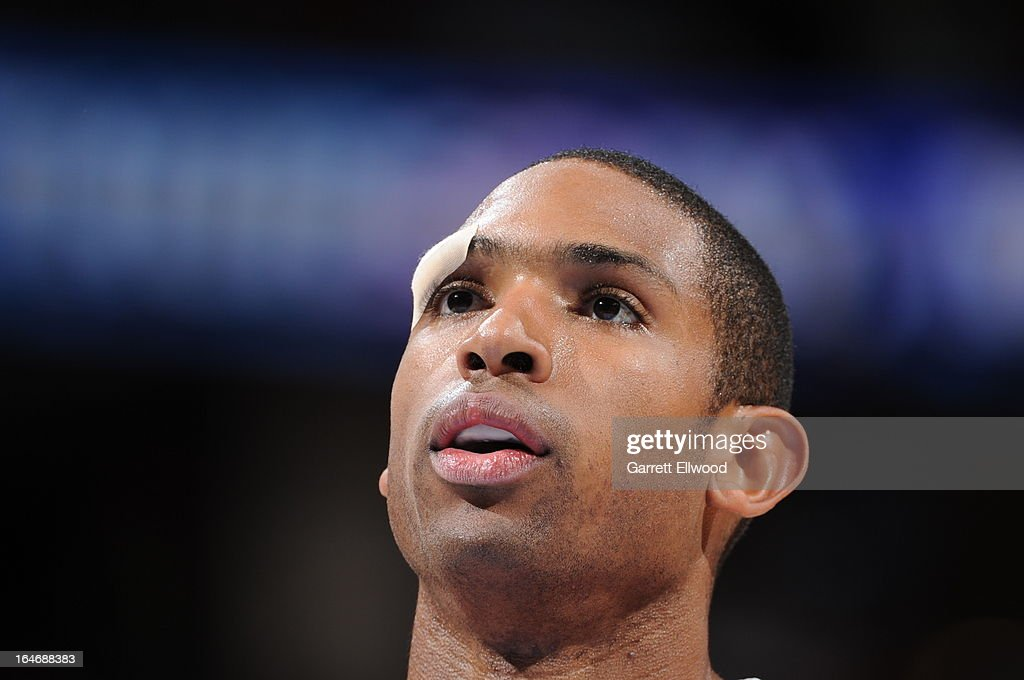A close up shot of Al Horford #15 of the Atlanta Hawks attempting a foul shot against the Denver Nuggets on March 4, 2013 at the Pepsi Center in Denver, Colorado.