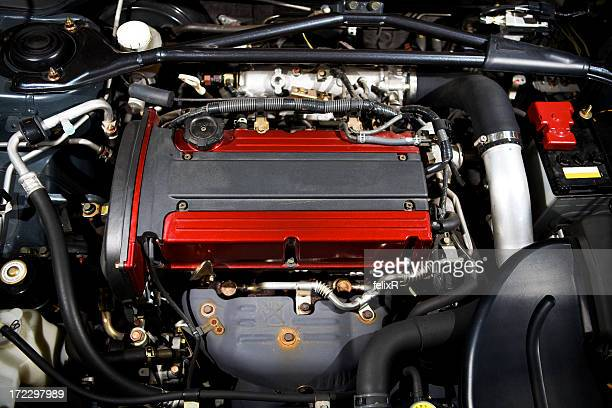 Close up shot of an automobile engine