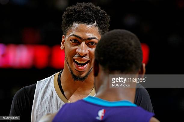 A close up shot of Anthony Davis of the New Orleans Pelicans smiling during the game against the Charlotte Hornets on January 15 2016 at the Smoothie...