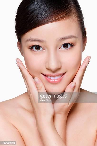 Close up shot of beautiful young woman's skin