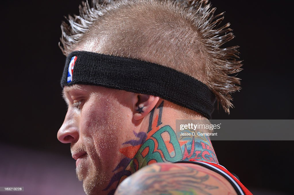 A close up shot of Chris Andersen #11 of the Miami Heat during the game against the Philadelphia 76ers at the Wells Fargo Center on February 23, 2013 in Philadelphia, Pennsylvania.