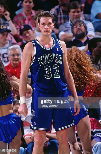 A close up shot of Christian Laettner of the Minnesota Timberwolves standing on the court during a game against the Sacramento Kings circa 1993 at...