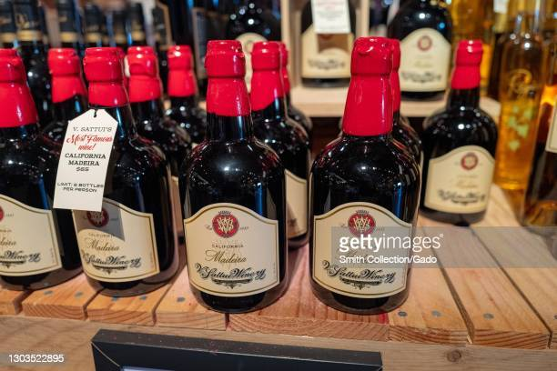 Close up shot of collection of California Madeira wine bottles at V. Sattui Winery in St Helena, California, February 6, 2021.