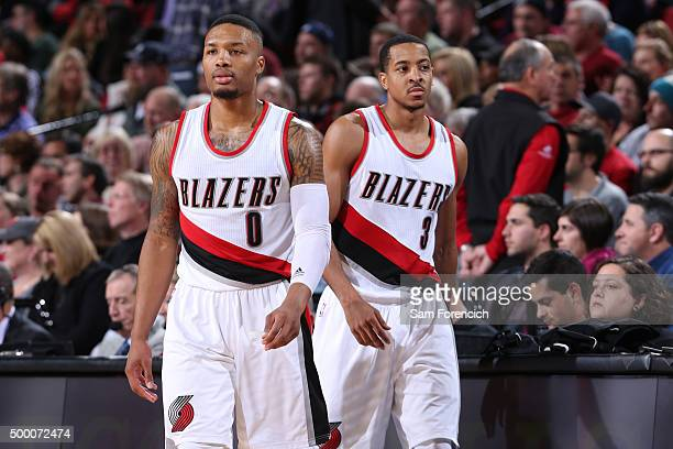 A close up shot of Damian Lillard and CJ McCollum of the Portland Trail Blazers during the game against the Dallas Mavericks on December 1 2015 at...