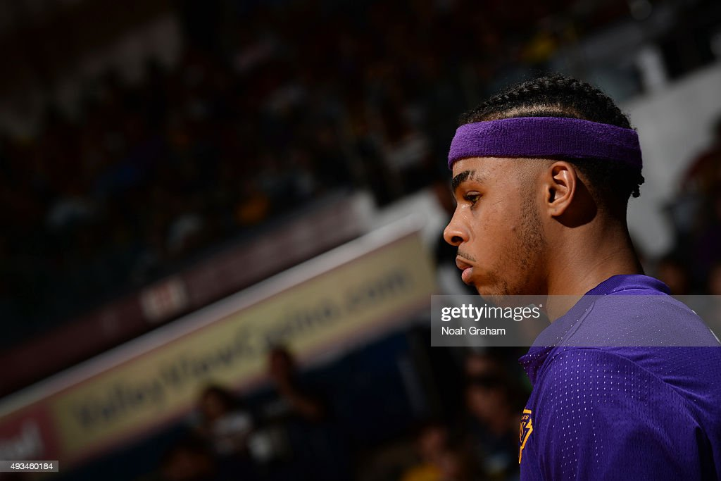 A close up shot of D'Angelo Russell #1 of the Los Angeles Lakers during a preseason game against the Golden State Warriors on October 17, 2015 at Valley View Casino Center in San Diego, California.
